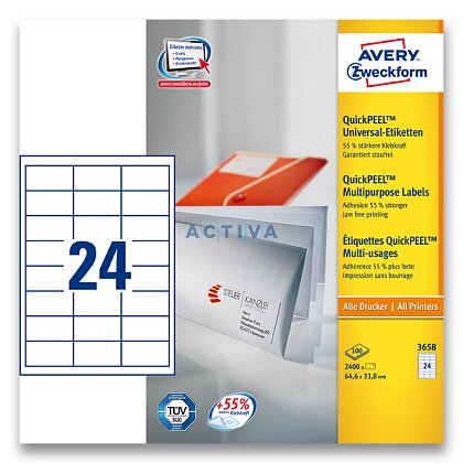 Obrázek produktu Avery Zweckform - univerzální etikety - 64,6 x 33,8 mm, 2400 etiket