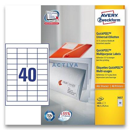 Obrázek produktu Avery Zweckform - univerzální etikety - 48,5 x 25,4 mm, 4000 etiket