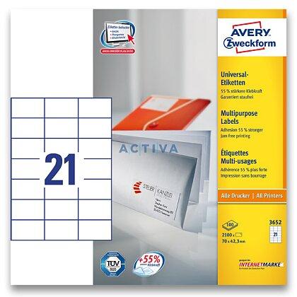 Obrázek produktu Avery Zweckform - univerzální etikety - 70,0 x 42,3 mm, 2100 etiket