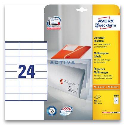 Obrázek produktu Avery Zweckform - univerzální etikety - 70,0 x 36,0 mm, 720 etiket