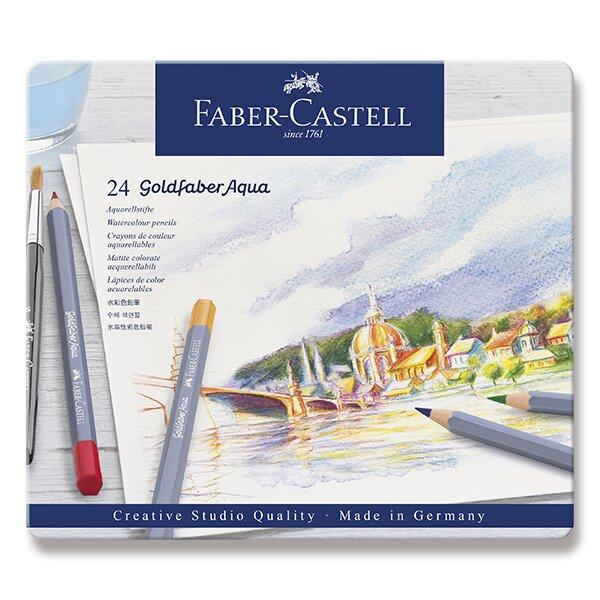 Akvarelové pastelky Faber-Castell Goldfaber Aqua plechová krabička, 24 barev