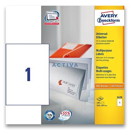 Obrázok produktu Avery Zweckform - univerzálne samolepiace etikety - 210,0 x 297,0 mm, 100 etikiet