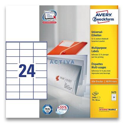 Obrázek produktu Avery Zweckform - univerzální etikety - 70,0 x 36,0 mm, 2400 etiket