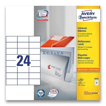 Obrázek produktu Avery Zweckform - univerzální etikety - 70,0 x 37,0 mm, 2400 etiket