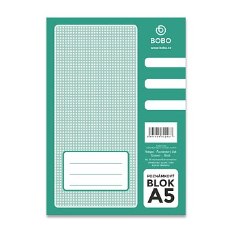 Obrázek produktu Lepený blok Bobo - A5, čtverečkovaný, 50 listů