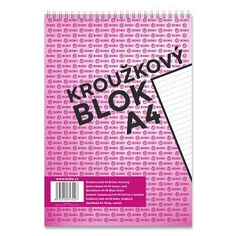 Obrázek produktu Kroužkový blok Bobo s horní spirálou - A4, linkovaný, 50 listů