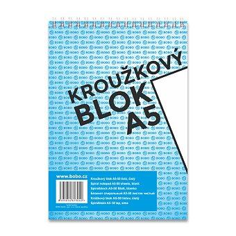 Obrázek produktu Kroužkový blok Bobo s horní spirálou - A5, čistý, 50 listů