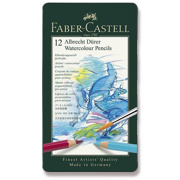 Akvarelové pastelky Faber-Castell Albrecht Dürer plechová krabička, 12 barev
