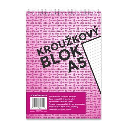 Obrázek produktu Bobo blok - kroužkový blok - A5, 50 l., linkovaný