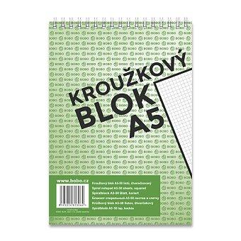 Obrázek produktu Kroužkový blok Bobo s horní spirálou - A5, čtverečkovaný, 50 listů