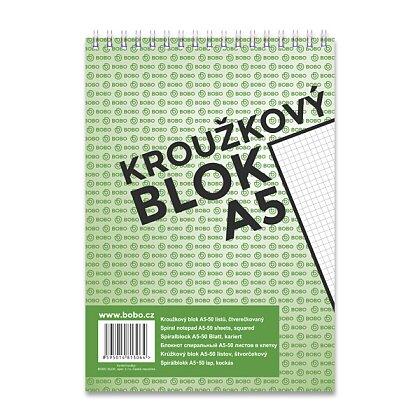 Obrázek produktu Bobo blok - kroužkový blok - A5, 50 l., čtverečkovaný