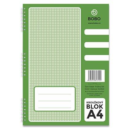 Obrázek produktu Bobo blok - kroužkový blok - A4, 50 l., čtverečkovaný