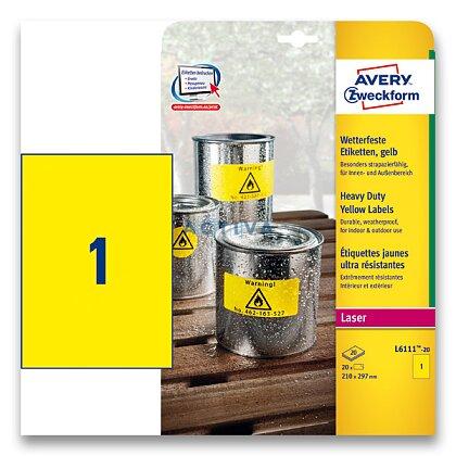 Obrázek produktu Avery Zweckform - žluté PET etikety - 210×297 mm, 20 etiket