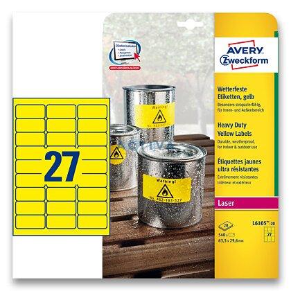 Obrázek produktu Avery Zweckform - žluté PET etikety - 63,5×29,6 mm, 540 etiket