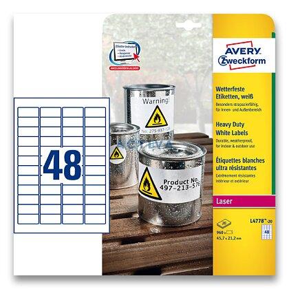Obrázek produktu Avery Zweckform - samolepicí bílé PET etikety - 45,7×21,2 mm, 960 etiket