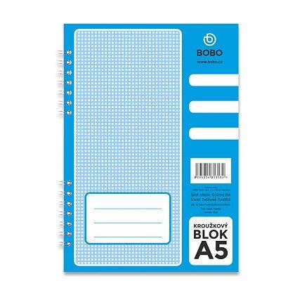 Obrázek produktu Bobo blok - kroužkový blok - A5, 50 l., čistý, boční spirála