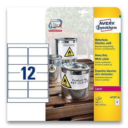 Obrázek produktu Avery Zweckform - samolepicí bílé PET etikety - 99,1×42,3 mm, 240 etiket