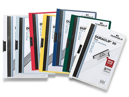 Obrázek produktu Plastový rychlovazač s klipem Durable Duraclip - A4, na 30 listů, výběr barev