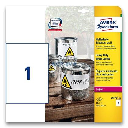 Obrázek produktu Avery Zweckform - samolepicí bílé PET etikety - 210×297 mm, 20 etiket
