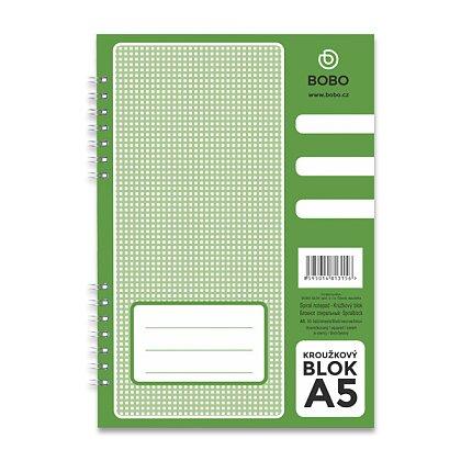 Obrázek produktu Bobo blok - kroužkový blok - A5, 50 l., čtverečkovaný, boční spirála