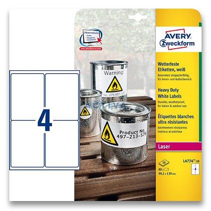 Obrázek produktu Avery Zweckform - samolepicí bílé PET etikety - 99,1×139,0 mm, 80 etiket