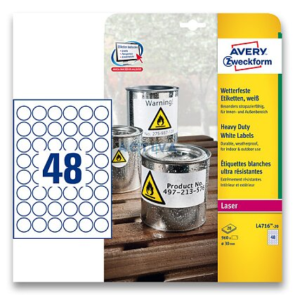 Obrázek produktu Avery Zweckform - samolepicí bílé PET etikety - kulaté 30 mm 960 etiket