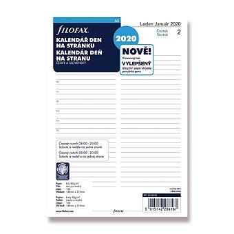 Obrázek produktu Denní kalendář 2020, Čj - náplň A5 diářů Filofax