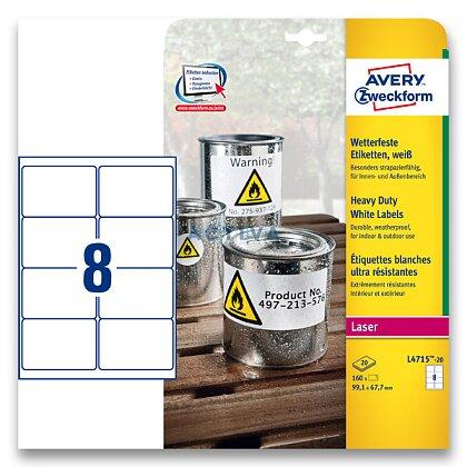 Obrázek produktu Avery Zweckform - samolepicí bílé PET etikety - 99,1×67,7 mm, 160 etiket