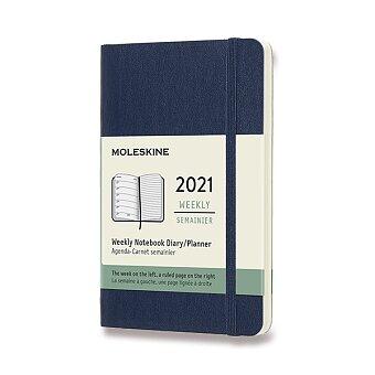 Obrázek produktu Diář Moleskine 2021 - měkké desky - S, týdenní, modrý