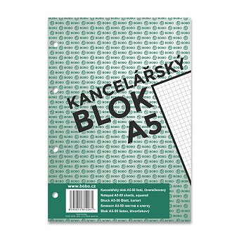 Obrázek produktu Lepený děrovaný blok Bobo - A5, čtverečkovaný, 50 listů