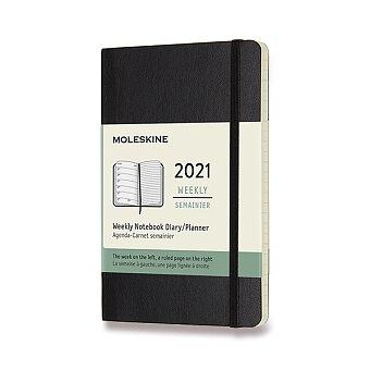 Obrázek produktu Diář Moleskine 2021 - měkké desky - S, týdenní, černý