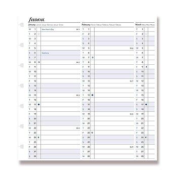 Obrázek produktu Roční kalendář 2021 - náplň A5 zápisníků Filofax Notebook