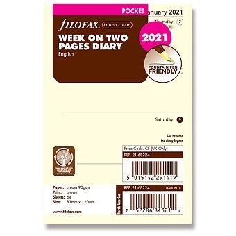 Obrázek produktu Týdenní kalendář 2021, Aj - náplň kapesních diářů Filofax