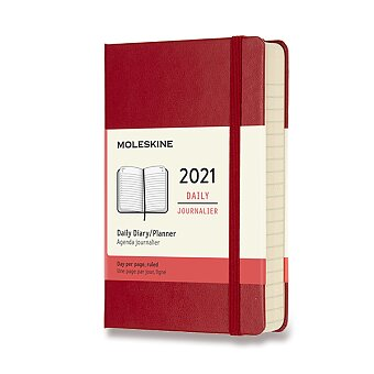 Obrázek produktu Diář Moleskine 2021 - tvrdé desky - S, denní, červený