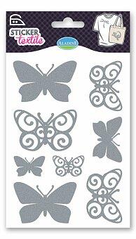 Obrázek produktu Nažehlovací nálepky na textil - Motýlci - glitroví