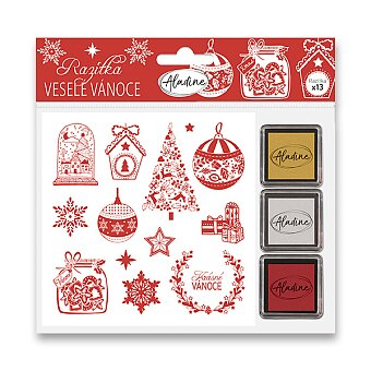 Obrázek produktu Razítka Stampo Nöel Aladine - Veselé Vánoce - 13 ks