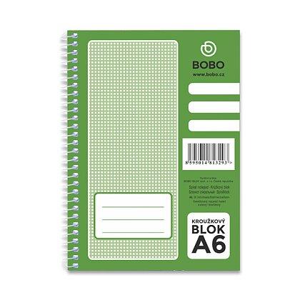 Obrázek produktu Bobo blok - kroužkový blok - A6, 50 l., čtverečkovaný