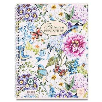 Obrázek produktu Kroužkový blok Pigna Nature Flowers - A5, linkovaný, 60 listů, mix motivů