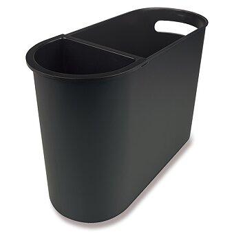 Obrázek produktu Elegantní odpadkový koš Helit Oval - objem 22 l, černý, možnost vložky pro třídění