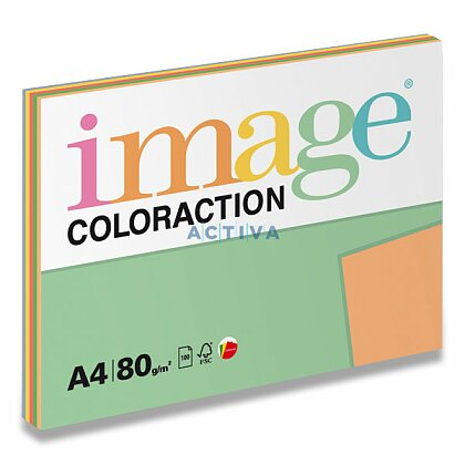 Obrázok produktu Image Coloraction - farebný papier - A4, 80 g, 5 x 20 l., Mix intenzívny