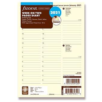 Obrázek produktu Týdenní kalendář 2021, 5 jazyků - náplň A5 diářů Filofax
