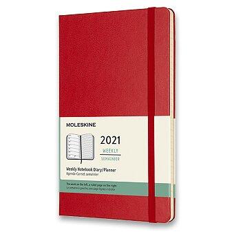 Obrázek produktu Diář Moleskine 2021 - tvrdé desky - L, týdenní, červený