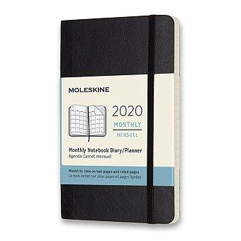 Obrázek produktu Diář Moleskine 2020 - měkké desky - S, měsíční, černý