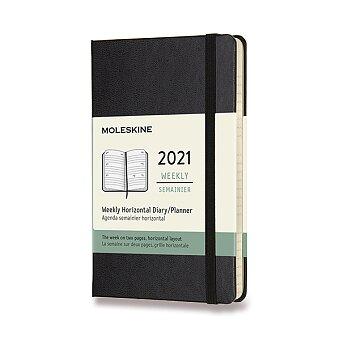 Obrázek produktu Diář Moleskine 2021 - tvrdé desky - S, týdenní, horizontální, černý