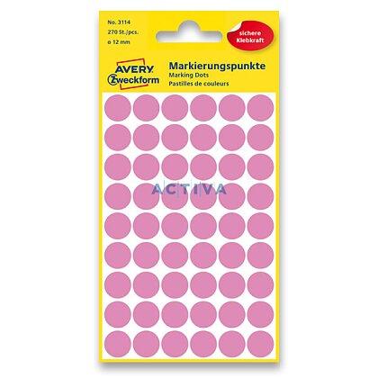 Obrázek produktu Avery Zweckform - kulaté etikety - průměr 12 mm, 270 etiket, růžové