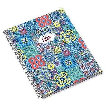 Obrázek produktu Kroužkový blok Ambar Lusa Patchwork - A4, linkovaný, 120 listů, mix motivů