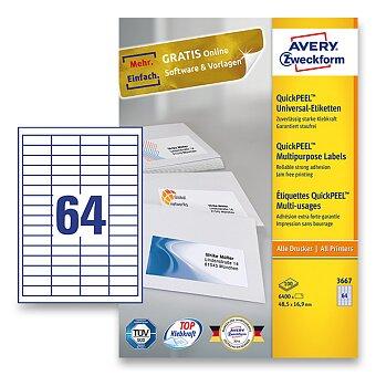 Obrázek produktu Bílé univerzální etikety Avery Zweckform - 100 archů A4, výběr rozměrů