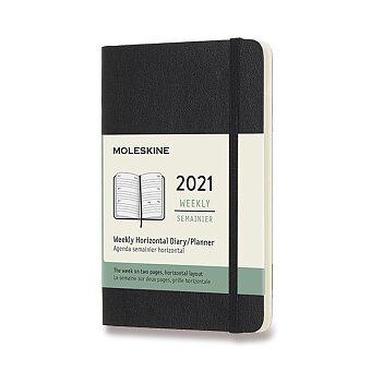 Obrázek produktu Diář Moleskine 2021 - měkké desky - S, týdenní, horizontální, černý