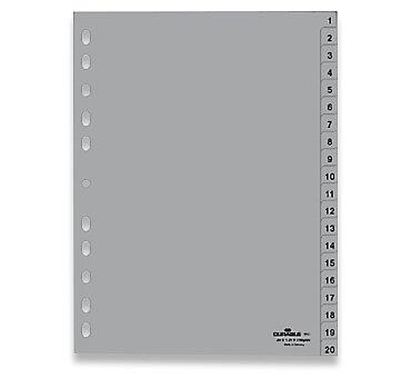 Obrázek produktu Polypropylénový rozlišovač Durable - A4, šedý, 1-20, 20 listů