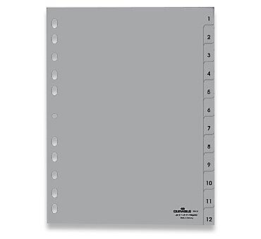 Obrázek produktu Polypropylénový rozlišovač Durable - A4, šedý, 1-12, 12 listů